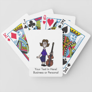 azul femenino del bajista del dibujo animado torpe baraja de cartas