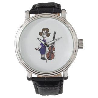 azul femenino del bajista del dibujo animado torpe relojes de pulsera