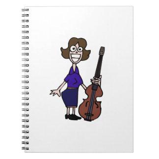 azul femenino del bajista del dibujo animado torpe spiral notebooks