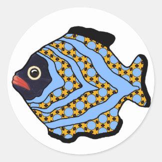 Azul Fish-02 y oro tropicales Pegatinas Redondas