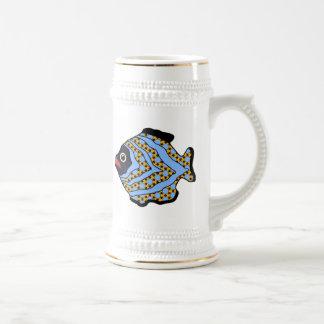Azul Fish-02 y oro tropicales Taza