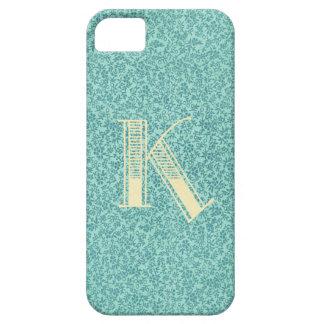 Azul floral antiguo la inicial del monograma de la iPhone 5 Case-Mate protectores