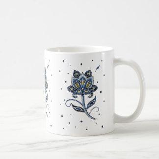 Azul floral de encargo elegante único de Paisley Taza