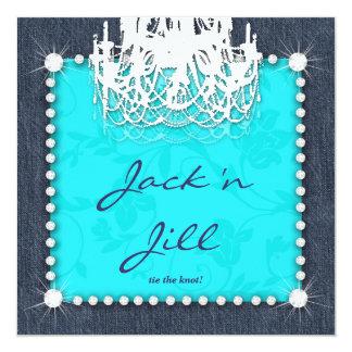 """Azul floral de la lámpara del boda de diamantes invitación 5.25"""" x 5.25"""""""
