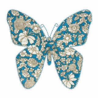 Azul floral de la mariposa de la tela del Applique Fotoescultura Vertical