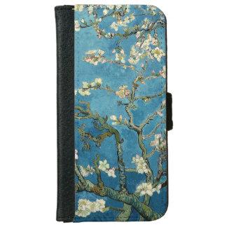 Azul floral del vintage de los flores de la funda cartera para iPhone 6