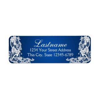 Azul floral del zafiro del cordón del país del vin etiqueta de remite