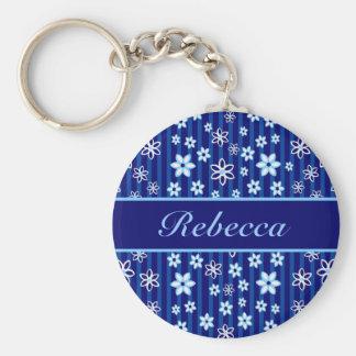 Azul floral personalizada y blanco modelados llaveros personalizados