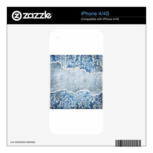 Azul floral rasgado iPhone 4S calcomanía
