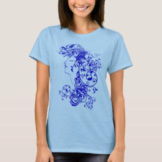 Azul Flourishing de la camisa de la belleza del