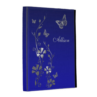 Azul, folios floral del iPad de la mariposa de pla