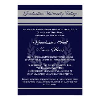 Azul formal del ~ de las invitaciones de la gradua comunicado