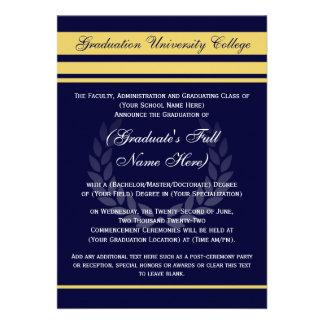 Azul formal del ~ de las invitaciones de la gradua anuncio personalizado