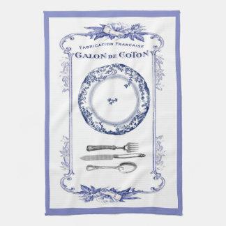 azul francés de la toalla de cocina de la placa y