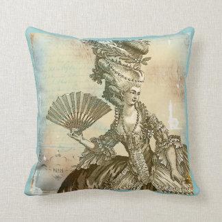 Azul francés de Marie Antonieta y almohada de la s