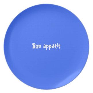 Azul francés del appétit del Bon (placa adaptable Plato De Comida