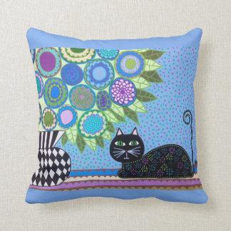 Azul francés del gato del arte popular de la cojín decorativo