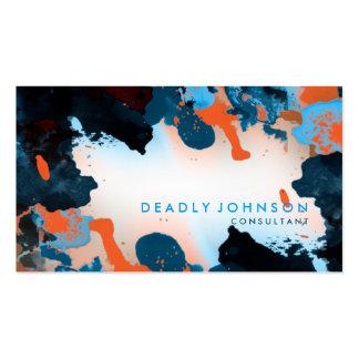 Azul fresco elegante abstracto de la acuarela tarjetas de visita
