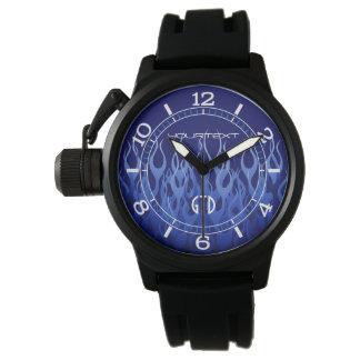 Azul fresco personalizado en el dial azul de las relojes de pulsera
