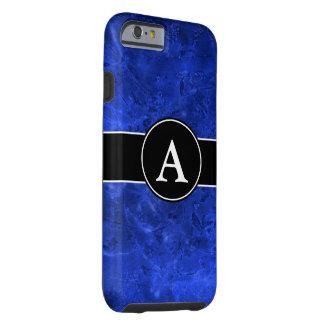 Azul fundido con inicial funda de iPhone 6 tough