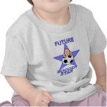 Azul futuro lindo de la estrella de fútbol camisetas