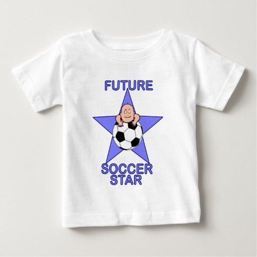 Azul futuro lindo de la estrella de fútbol playera de bebé