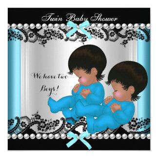 """Azul gemelo afroamericano 3 de la fiesta de invitación 5.25"""" x 5.25"""""""