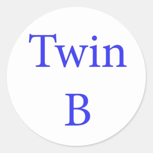 Azul gemelo de B Pegatina Redonda