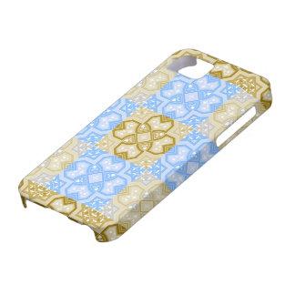 Azul geométrico colorido y beige del ~ iPhone 5 carcasas