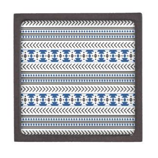 Azul geométrico del modelo de la impresión tribal caja de joyas de calidad