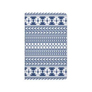 Azul geométrico del modelo de la impresión tribal cuadernos grapados