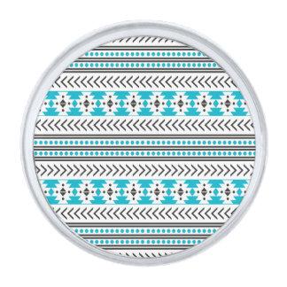 Azul geométrico del modelo de la impresión tribal insignia plateada