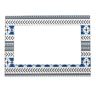 Azul geométrico del modelo de la impresión tribal marcos magneticos