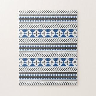 Azul geométrico del modelo de la impresión tribal puzzles con fotos