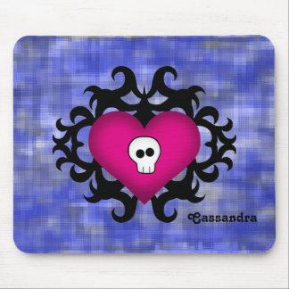 Azul gótico lindo estupendo del fuschia del corazó alfombrillas de ratón
