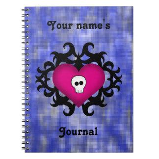 Azul gótico lindo estupendo del fuschia del corazó spiral notebooks