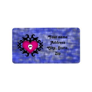 Azul gótico lindo estupendo del fuschia del corazó etiqueta de dirección