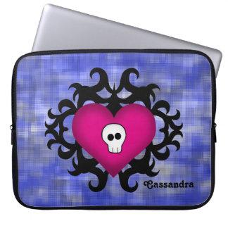 Azul gótico lindo estupendo del fuschia del corazó funda portátil