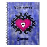 Azul gótico lindo estupendo del fuschia del corazó cuadernos