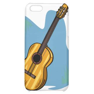 Azul gráfico de la guitarra acústica detrás