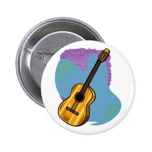 Azul gráfico de la guitarra acústica detrás pin redondo de 2 pulgadas