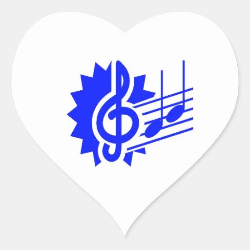 azul gráfico del personal de las notas del clef ag colcomanias corazon personalizadas