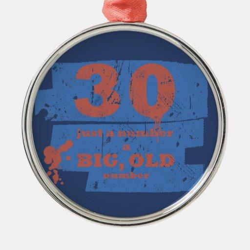 Azul grande, viejo 30 adorno redondo plateado