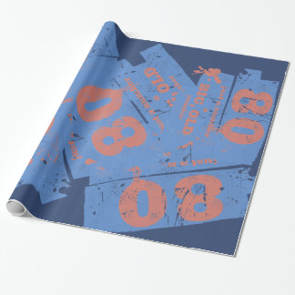 Azul grande, viejo 80 papel de regalo