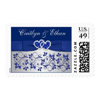 Azul, gris plateado floral, corazones que casan sello