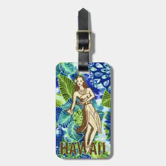 Azul hawaiano de la cal del chica de Hula de la CR Etiqueta De Equipaje