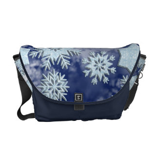 Azul helado de los copos de nieve del invierno bolsas de mensajería