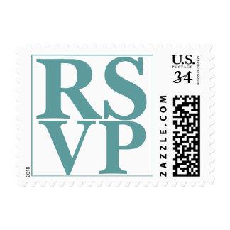 Azul hermoso del cadete de las letras de RSVP de Estampillas