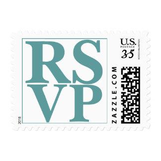 Azul hermoso del cadete de las letras de RSVP de Franqueo