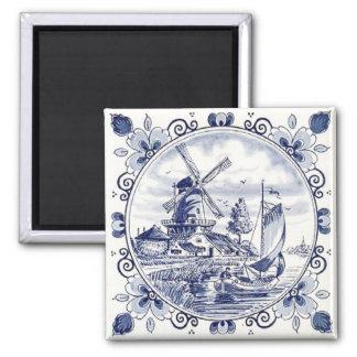 Azul holandés de Delft del velero del molino de Imán Cuadrado